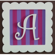 Initial Frame'Purple & Hot Pink Stripes'