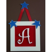 Initial Frame'Background Red (Star Hanger & 2 Blue Stars)'