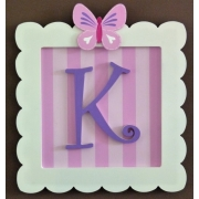 Initial Frame'Pink Stripes & Dark Purple (Butterfly Top)