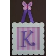 Initial Frame'Pink Stripes & Dark Purple (Butterfly Hanger)