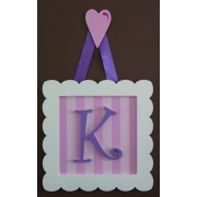 Initial Frame'Pink Stripes & Dark Purple (Loveheart Hanger)