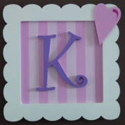 Initial Frame'Pink Stripes & Dark Purple (Loveheart Side)