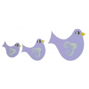 Wall Motif Set - Birdie (purple)Painted