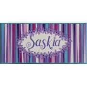 Personalised Name Plaque for kids wall or door Daisy Chain Aqua and Purple