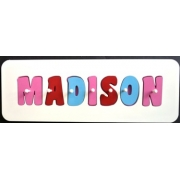 Personalised Kids Wooden Jigsaw Name Puzzle (Lolly Pink/Red/Sky Blue)
