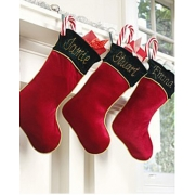 Christmas Stocking Red Velvet Personalised Gold