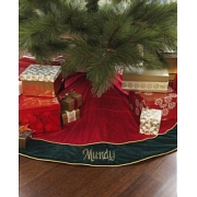 Christmas Tree Skirt red Velvet Personalised Gold