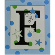 Canvas Name Plaque HandpaintedStars (Green & Blue)