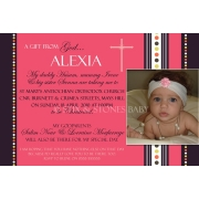 Christening Invitation 'Pink Fizz'