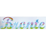 Scripted Name Plaquefor LARGE FontsWITH A PAINTED PATTERNStarting from 3+ lettersThemed Rainbow Design