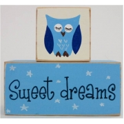 Sweet Dreams/Baby Sleeping Sign - Wooden Blockssky blue