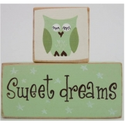 Sweet Dreams/Baby Sleeping Sign - Wooden Blocksfresh green