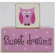 Sweet Dreams/Baby Sleeping Sign - Wooden Blocksdaisy pink