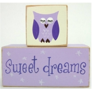 Sweet Dreams/Baby Sleeping Sign - Wooden BlocksPurple