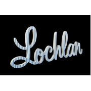 Scripted Name Plaque.LARGE Retro Font (Fabric)7 letter name(shown here in blue ticking fabric)