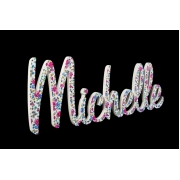Scripted Name Plaque.LARGE Retro Font (Fabric)8 letter name(shown here in liberty rose fabric)
