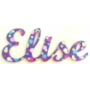 Scripted Name Plaque Wooden Letters for LARGE Fonts WITH A PAINTED PATTERN Starting from 3+ letters Pattern - Purple Dotty Spots