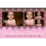 Christening Invitation 'Victorian Pink'