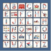 Canvas Alphabet - BOYS TransportAvail. in 20 different colours