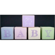 .Wooden BlocksPastelsBABY with motif (SMALL)