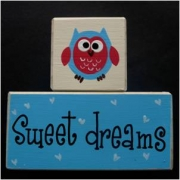 Sweet Dreams/Baby Sleeping Sign - Wooden Blocks Owl (Blue and Red/Blue Owl)