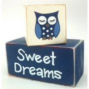 Sweet Dreams/Baby Sleeping Sign - Wooden Blocksnavy blue
