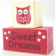 Sweet Dreams/Baby Sleeping Sign - Wooden Blocksred