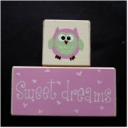 Sweet Dreams/Baby Sleeping Sign - Wooden Blocks Owl (Pink and Green)