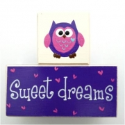 Sweet Dreams/Baby Sleeping Sign - Wooden Blocks Owl (Purple and Hot Pink)