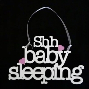 Baby Sleeping Sign / Door hanger personalised Heart colour of your choice