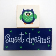 Sweet Dreams/Baby Sleeping Sign - Wooden Blocks owl (navy and green)