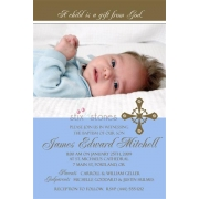 Christening Invitation 'Baptism - Blue 4'