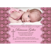 Christening Invitation 'Baptism - Pink 2'