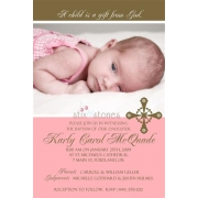 Christening Invitation 'Baptism - Pink 4'
