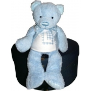 Personalised Teddy Bear - BLUEChoose your letter, bear colour and fabric patch colour