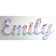 Scripted Name Plaquefor LARGE FontsWITH A PAINTED PATTERNStarting from 3+ lettersThemed Butterfly Garden Design