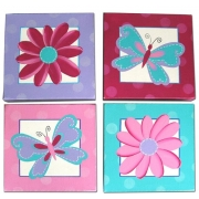Butterflies & Flowers(Set of 4)