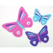 Wall Motif Set - Butterflies - Pink, Aqua & PurplePainted