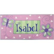 Name Plaque'Butterfly Pink/Green'