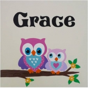 Personalised Kids Name Canvas Wall Art Canvas Name Plaque Handpainted Mum and Bub Owls