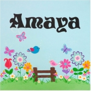 Personalised Kids Name Canvas Wall Art Canvas Name Plaque Handpainted Springtime