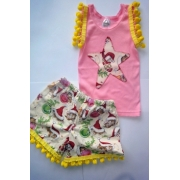 Christmas Clothing Baby Singlet & Pom Pom shorts Set - Pink StarSize 1Last one left!