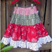 ClothesChristmas Skirt 4 Tiered Gracie SkirtMatching Shirt can be AddedRed & Greensize 4