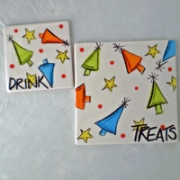 Handpainted Plate - Thank you Santa Coaster Set