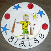 Handpainted Plate - Anyone for Cricket