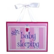 Baby Sleeping Sign - Pink Cupcake