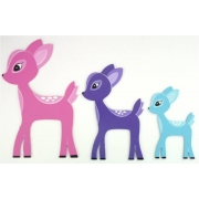 Wall Motif Set - Deer Enchanted Forest - PINK/PURPLE/AQUAPainted