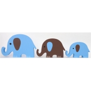 Wooden Block Freestanding elephant set of 3 BLUE/CHOCOLATE(trunks up)