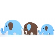 Wooden Block Freestanding elephant set of 3 BLUE/CHOCOLATE(mixed trunks)