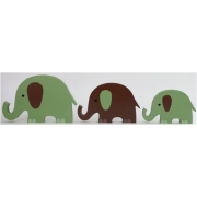 Wooden Block Freestanding elephant set of 3  GREEN/CHOCOLATE(trunks up)